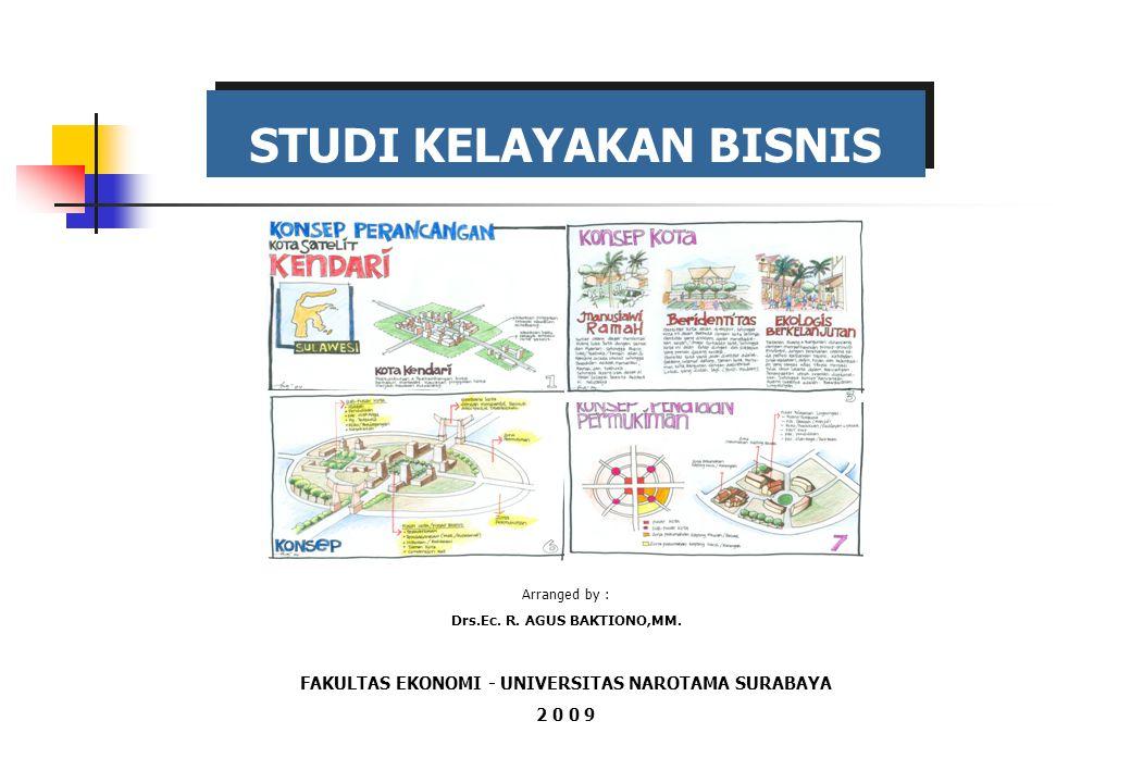 STUDI KELAYAKAN BISNIS Arranged by : Drs.Ec. R. AGUS BAKTIONO,MM. FAKULTAS EKONOMI - UNIVERSITAS NAROTAMA SURABAYA 2 0 0 9