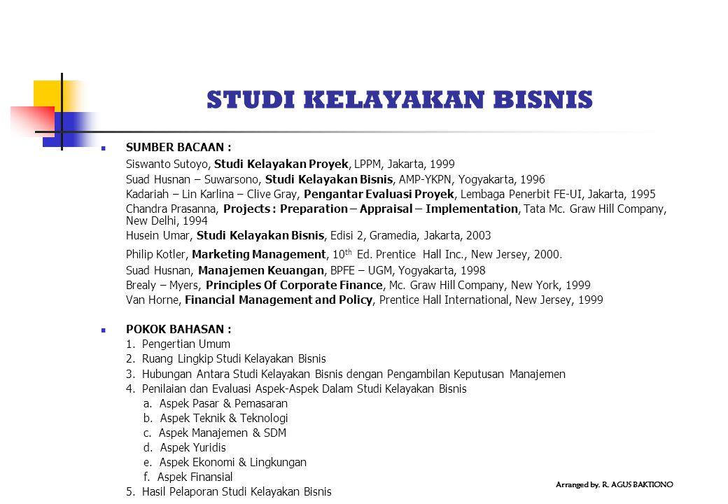 STUDI KELAYAKAN BISNIS SUMBER BACAAN : Siswanto Sutoyo, Studi Kelayakan Proyek, LPPM, Jakarta, 1999 Suad Husnan – Suwarsono, Studi Kelayakan Bisnis, A