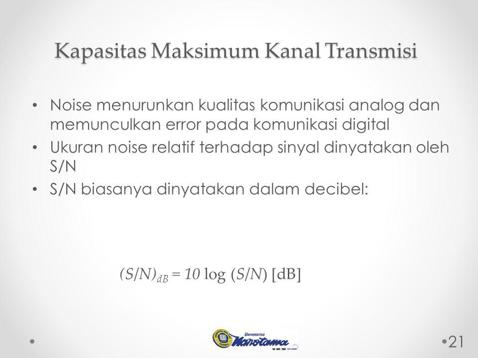 21 Noise menurunkan kualitas komunikasi analog dan memunculkan error pada komunikasi digital Ukuran noise relatif terhadap sinyal dinyatakan oleh S/N S/N biasanya dinyatakan dalam decibel: Kapasitas Maksimum Kanal Transmisi (S/N) dB = 10 log (S/N) [dB]
