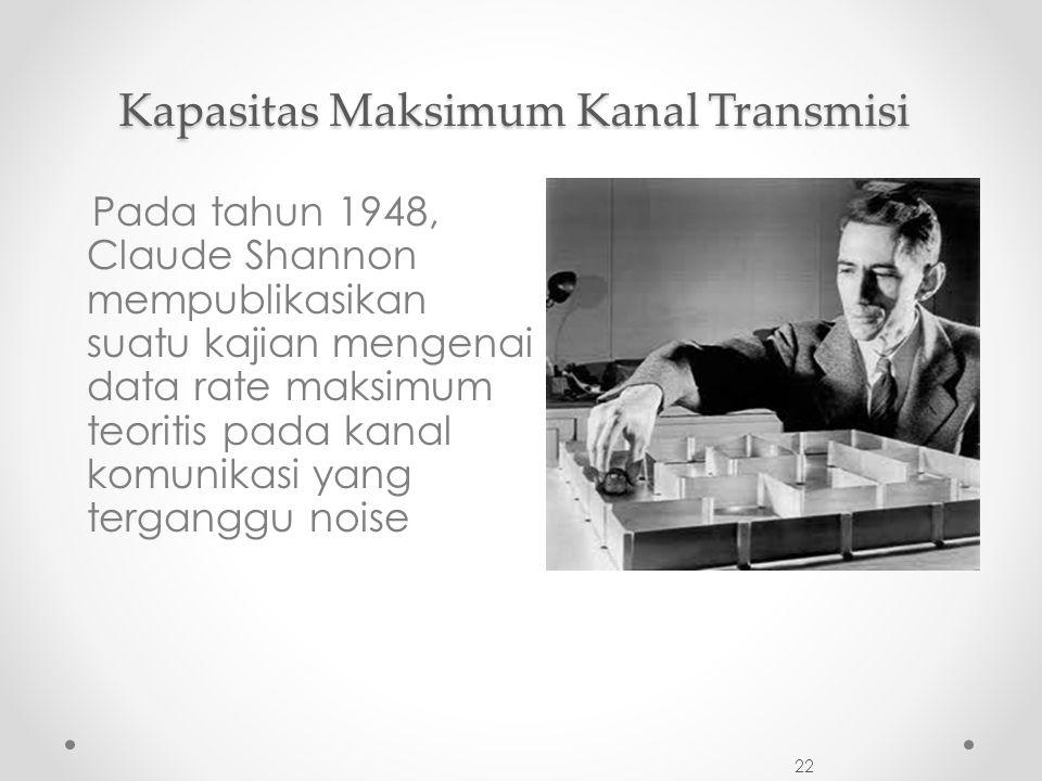22 Pada tahun 1948, Claude Shannon mempublikasikan suatu kajian mengenai data rate maksimum teoritis pada kanal komunikasi yang terganggu noise Kapasitas Maksimum Kanal Transmisi