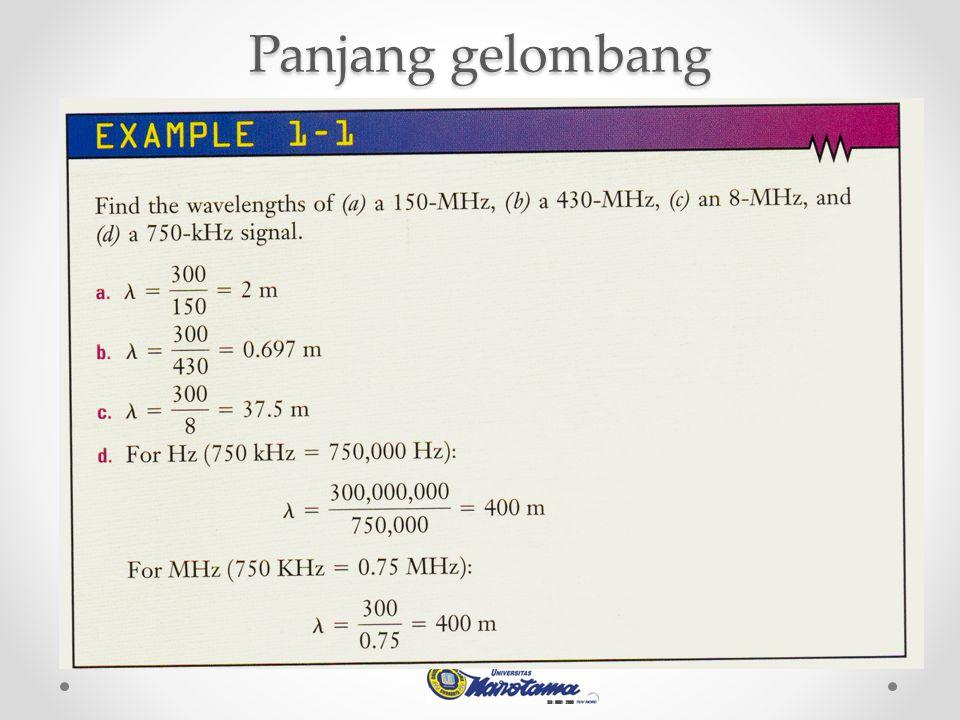 Example : Pada sebuah penguatan : Dengan input 1 watt diperoleh output 1000 watt, berarti sistem mempunyai penguatan 1000 kali Gain=10 log (output/input) = 10 log 1000/1 = 10log (1000) = 10 (3) = +30dB.