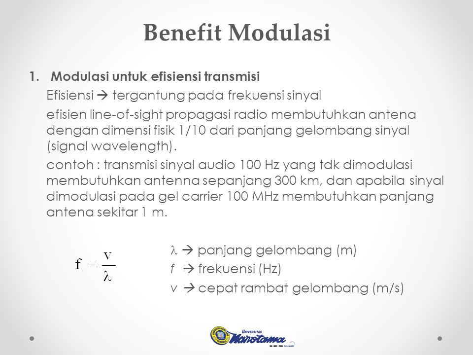 Benefit Modulasi 1.