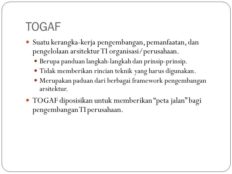 TOGAF 3 Suatu kerangka-kerja pengembangan, pemanfaatan, dan pengelolaan arsitektur TI organisasi/perusahaan.