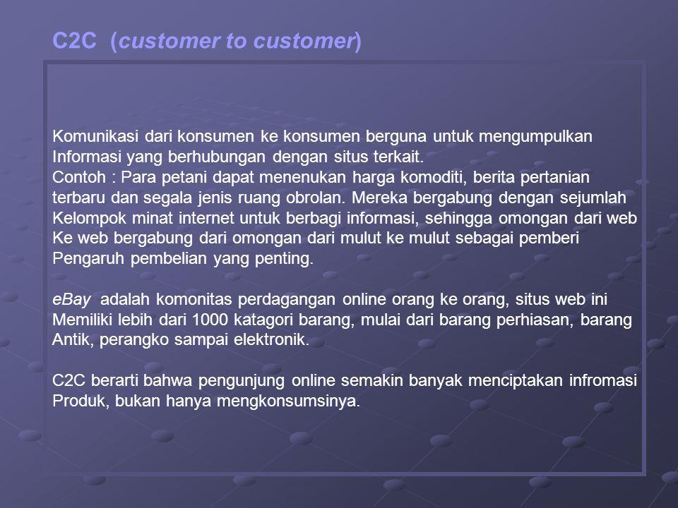 Komunikasi dari konsumen ke konsumen berguna untuk mengumpulkan Informasi yang berhubungan dengan situs terkait.