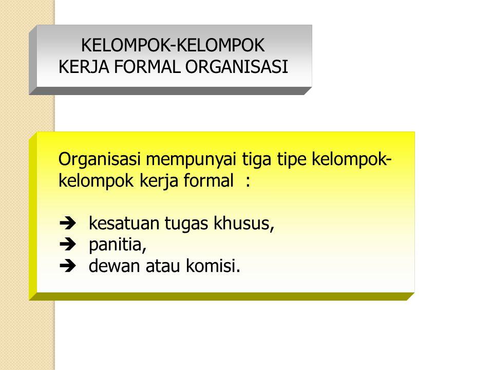 KELOMPOK-KELOMPOK KERJA FORMAL ORGANISASI Organisasi mempunyai tiga tipe kelompok- kelompok kerja formal :  kesatuan tugas khusus,  panitia,  dewan