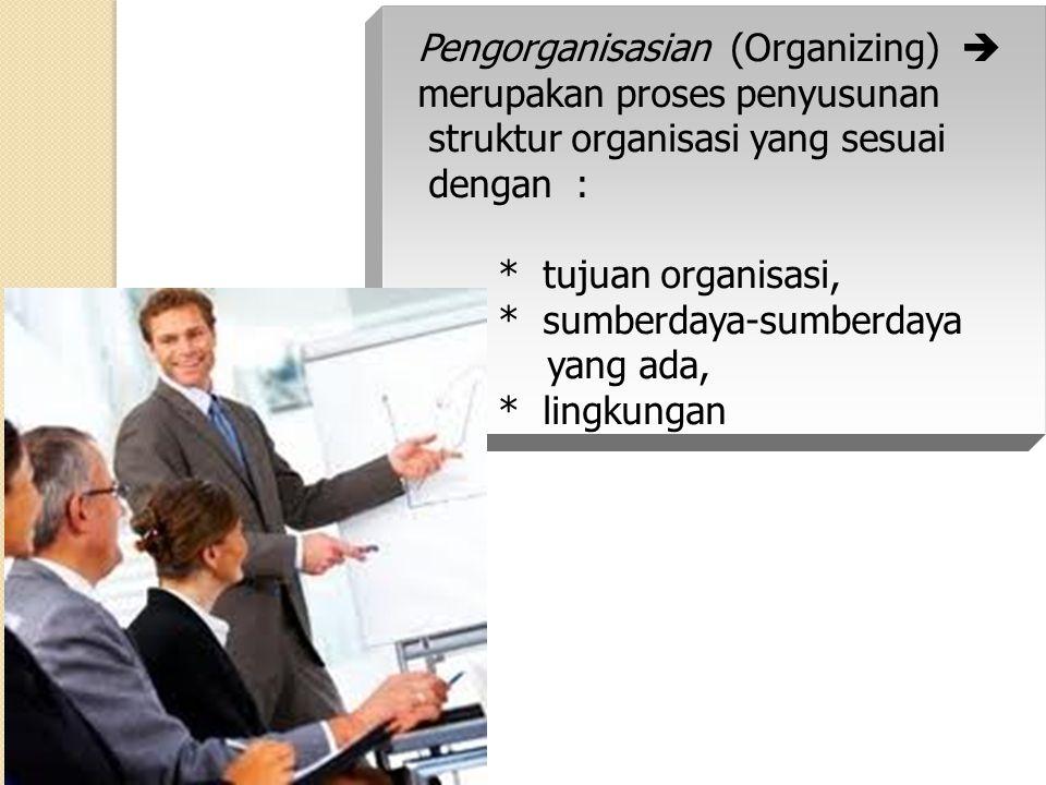 Pengorganisasian (Organizing)  merupakan proses penyusunan struktur organisasi yang sesuai dengan : * tujuan organisasi, * sumberdaya-sumberdaya yang