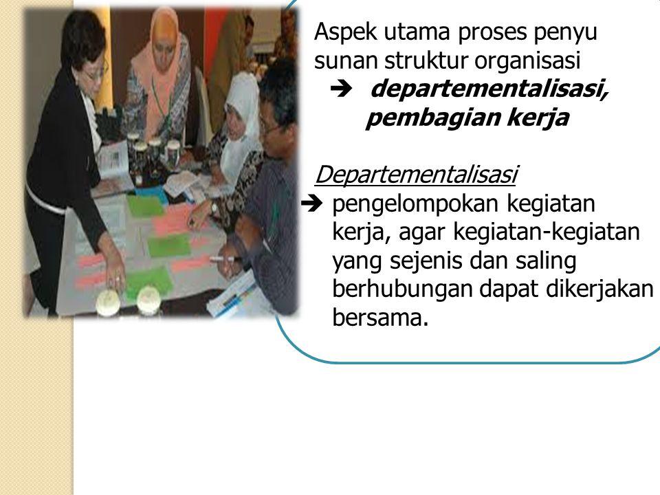 Aspek utama proses penyu sunan struktur organisasi  departementalisasi, pembagian kerja Departementalisasi  pengelompokan kegiatan kerja, agar kegia