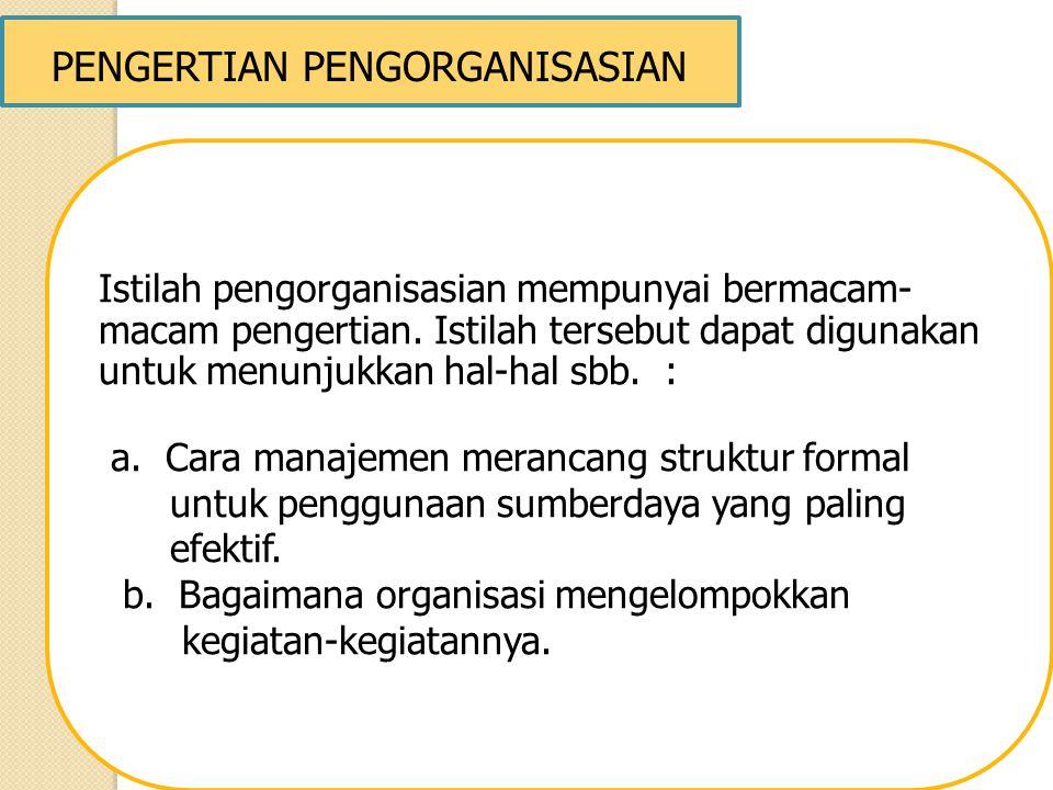 PENGERTIAN PENGORGANISASIAN Istilah pengorganisasian mempunyai bermacam- macam pengertian. Istilah tersebut dapat digunakan untuk menunjukkan hal-hal