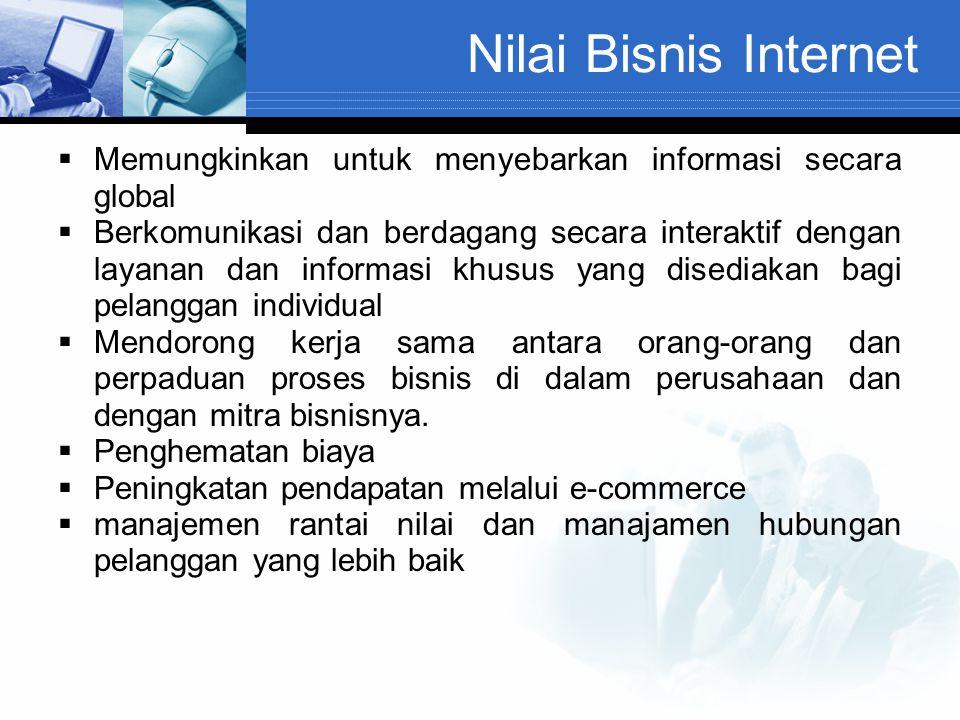 Nilai Bisnis Internet  Memungkinkan untuk menyebarkan informasi secara global  Berkomunikasi dan berdagang secara interaktif dengan layanan dan info