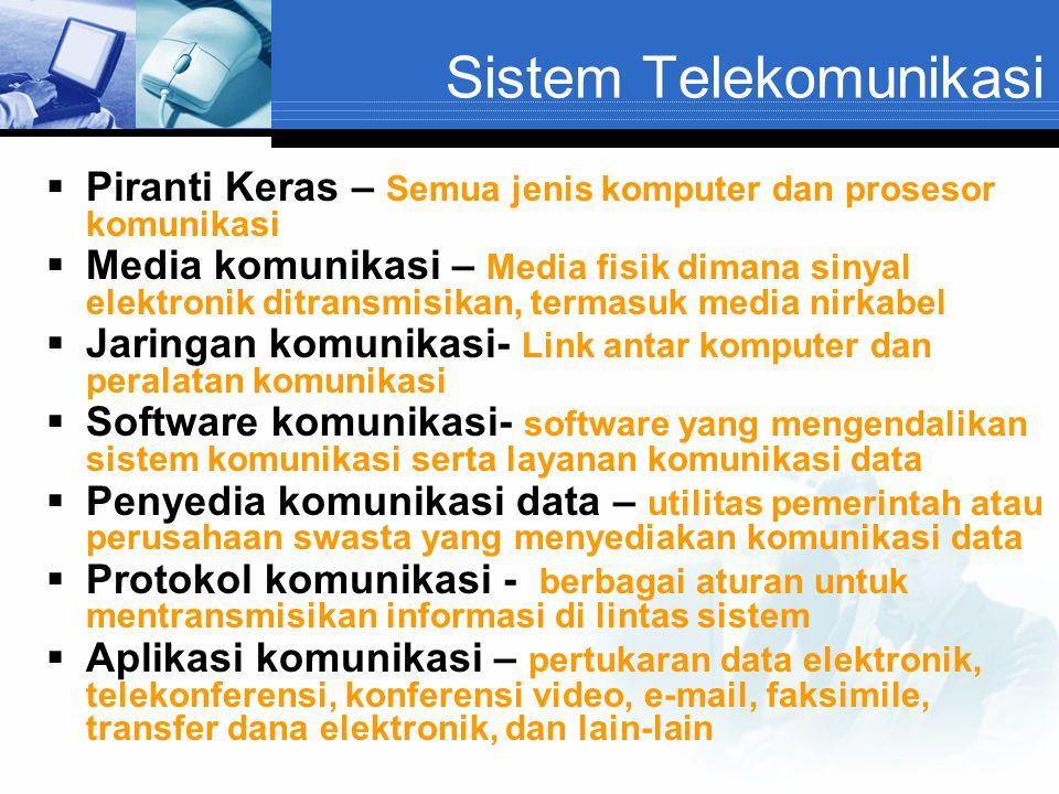 Sistem Telekomunikasi  Piranti Keras – Semua jenis komputer dan prosesor komunikasi  Media komunikasi – Media fisik dimana sinyal elektronik ditrans