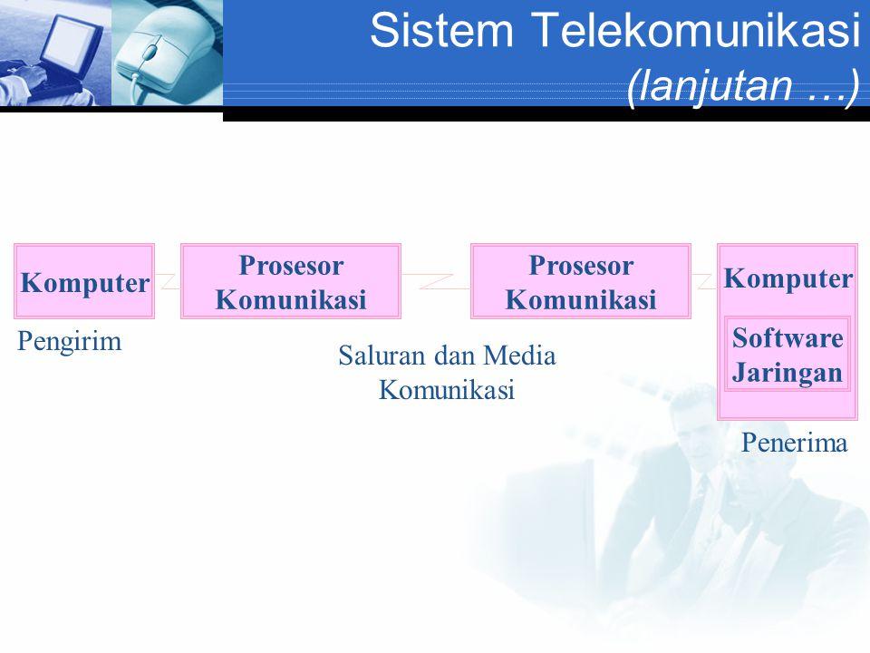 Sistem Telekomunikasi (lanjutan …) Komputer Prosesor Komunikasi Prosesor Komunikasi Komputer Software Jaringan Saluran dan Media Komunikasi Pengirim P