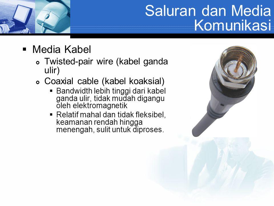 Saluran dan Media Komunikasi  Media Kabel  Twisted-pair wire (kabel ganda ulir)  Coaxial cable (kabel koaksial)  Bandwidth lebih tinggi dari kabel