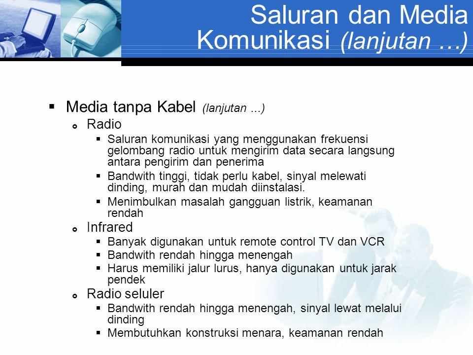 Saluran dan Media Komunikasi (lanjutan …)  Media tanpa Kabel (lanjutan...)  Radio  Saluran komunikasi yang menggunakan frekuensi gelombang radio un