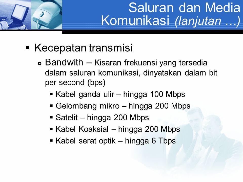 Saluran dan Media Komunikasi (lanjutan …)  Kecepatan transmisi  Bandwith – Kisaran frekuensi yang tersedia dalam saluran komunikasi, dinyatakan dala
