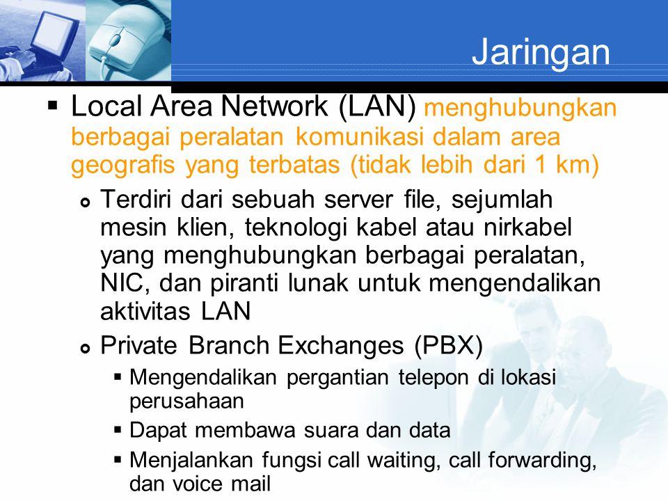 Jaringan  Local Area Network (LAN) menghubungkan berbagai peralatan komunikasi dalam area geografis yang terbatas (tidak lebih dari 1 km)  Terdiri d