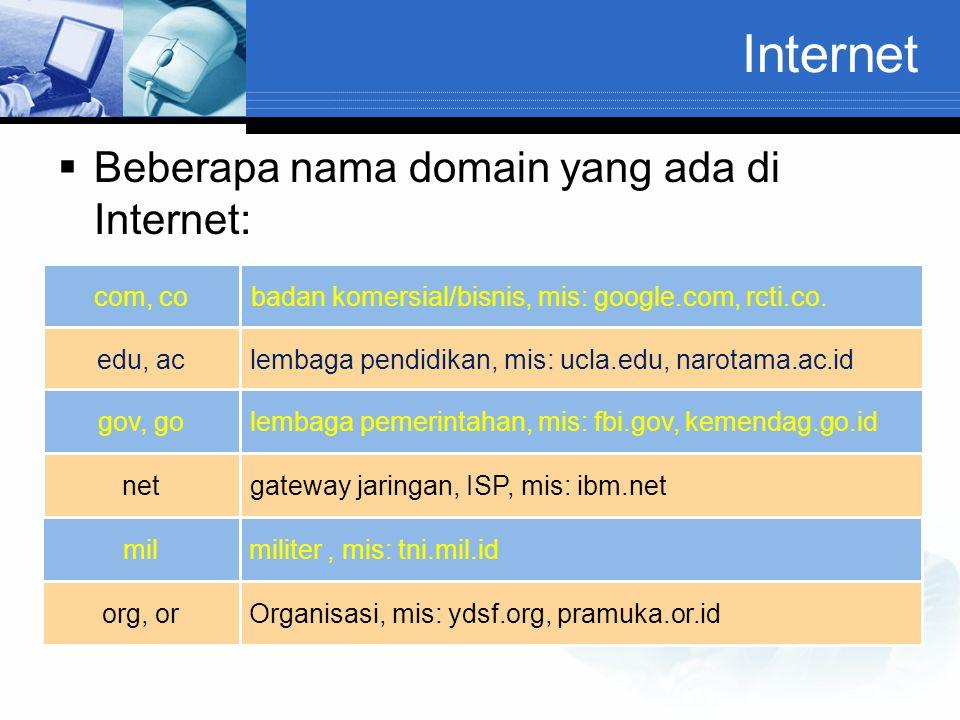 Internet  Beberapa nama domain yang ada di Internet: com, cobadan komersial/bisnis, mis: google.com, rcti.co. edu, aclembaga pendidikan, mis: ucla.ed