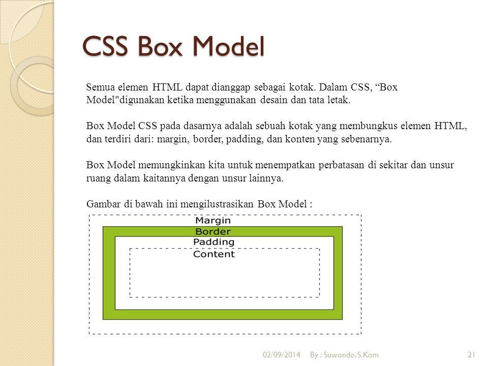 "CSS Box Model Semua elemen HTML dapat dianggap sebagai kotak. Dalam CSS, ""Box Model"