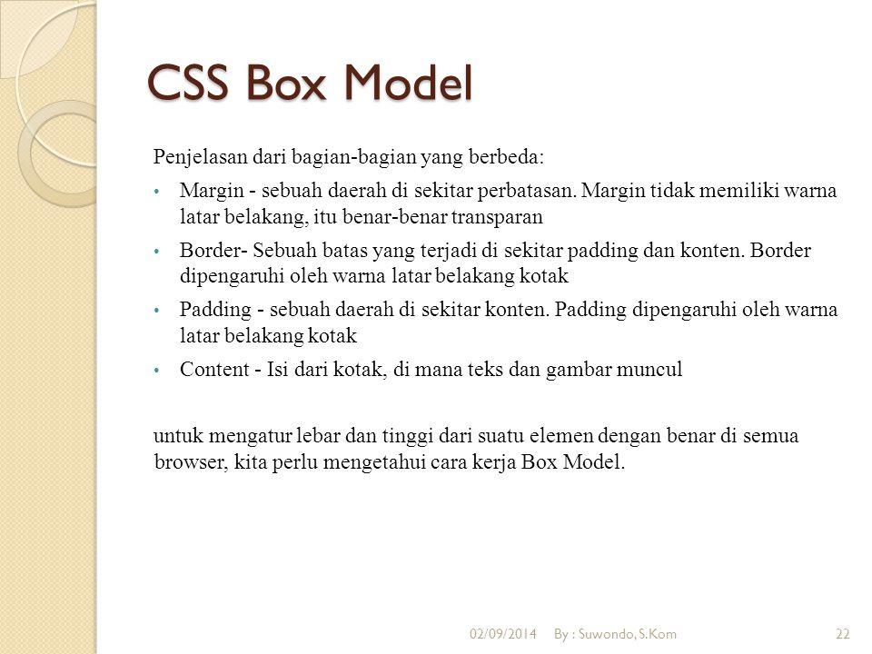 CSS Box Model Penjelasan dari bagian-bagian yang berbeda: Margin - sebuah daerah di sekitar perbatasan. Margin tidak memiliki warna latar belakang, it