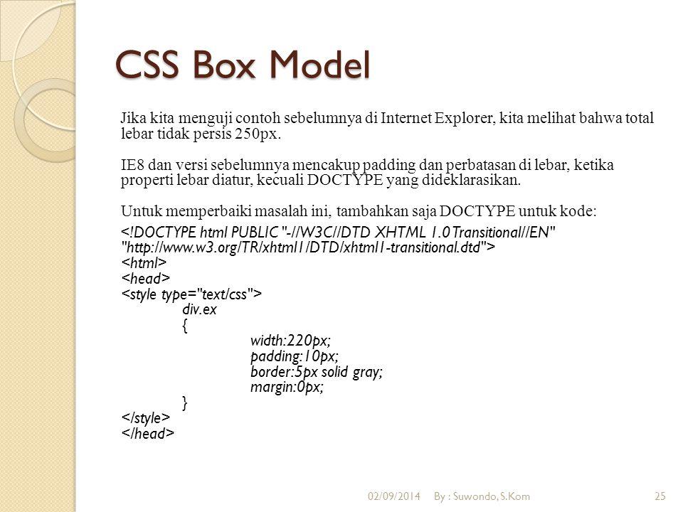CSS Box Model Jika kita menguji contoh sebelumnya di Internet Explorer, kita melihat bahwa total lebar tidak persis 250px. IE8 dan versi sebelumnya me