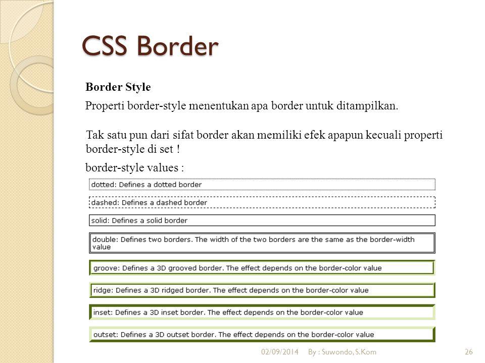 CSS Border Border Style Properti border-style menentukan apa border untuk ditampilkan. Tak satu pun dari sifat border akan memiliki efek apapun kecual