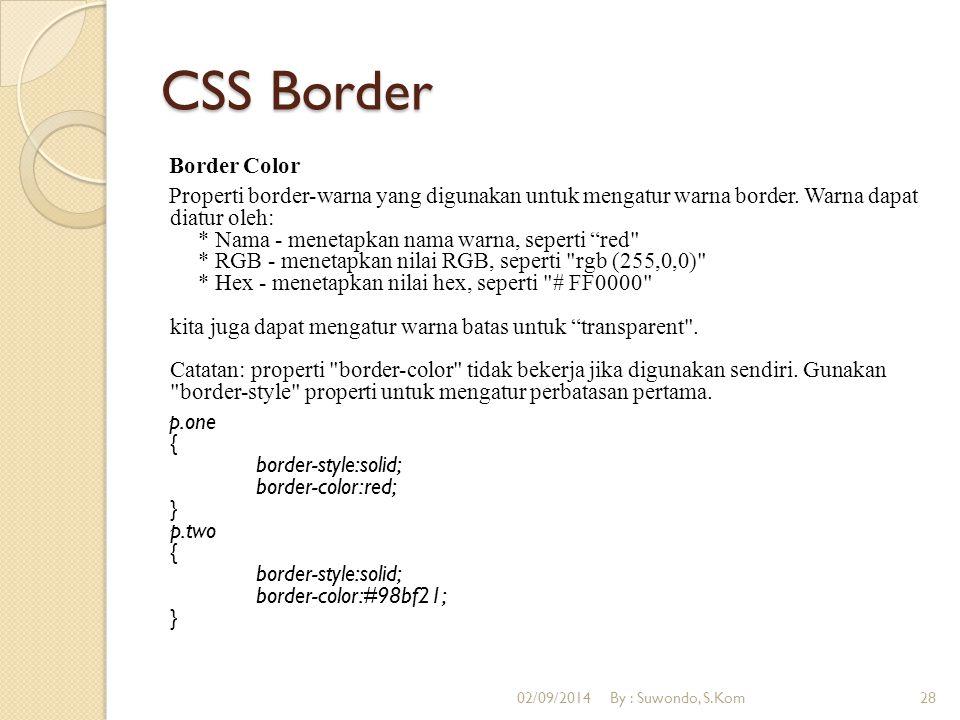 CSS Border Border Color Properti border-warna yang digunakan untuk mengatur warna border. Warna dapat diatur oleh: * Nama - menetapkan nama warna, sep