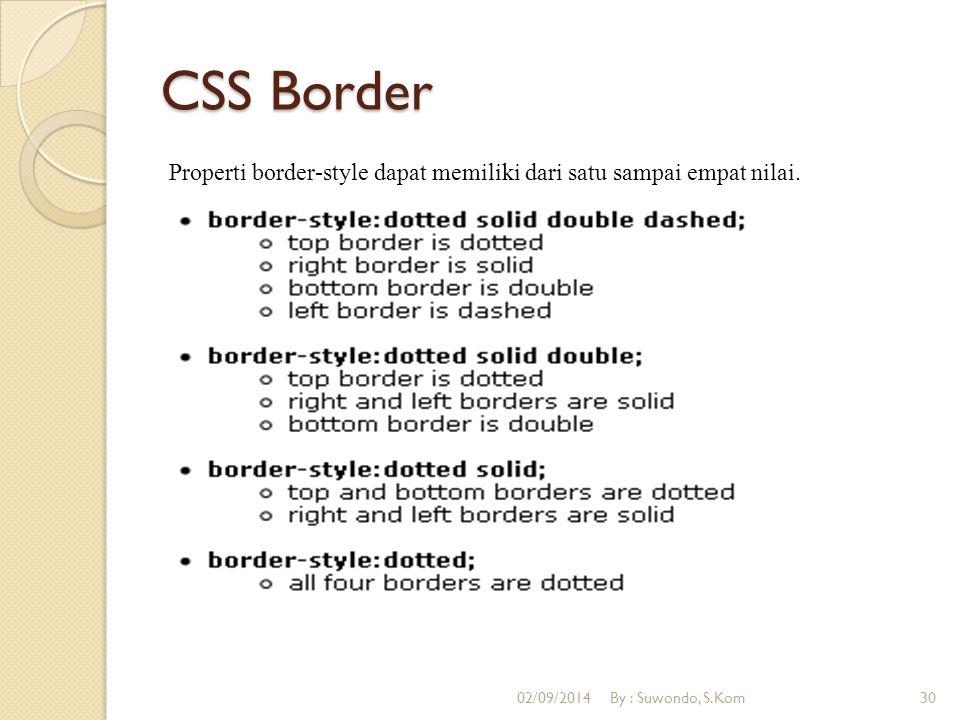 CSS Border Properti border-style dapat memiliki dari satu sampai empat nilai. 02/09/2014By : Suwondo, S.Kom30