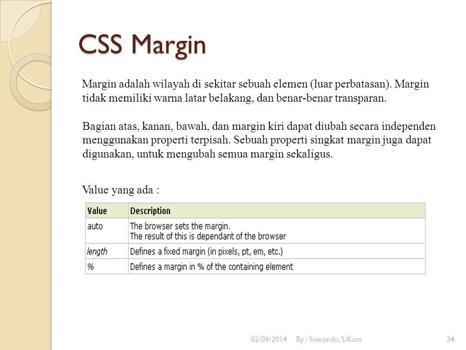 CSS Margin Margin adalah wilayah di sekitar sebuah elemen (luar perbatasan). Margin tidak memiliki warna latar belakang, dan benar-benar transparan. B