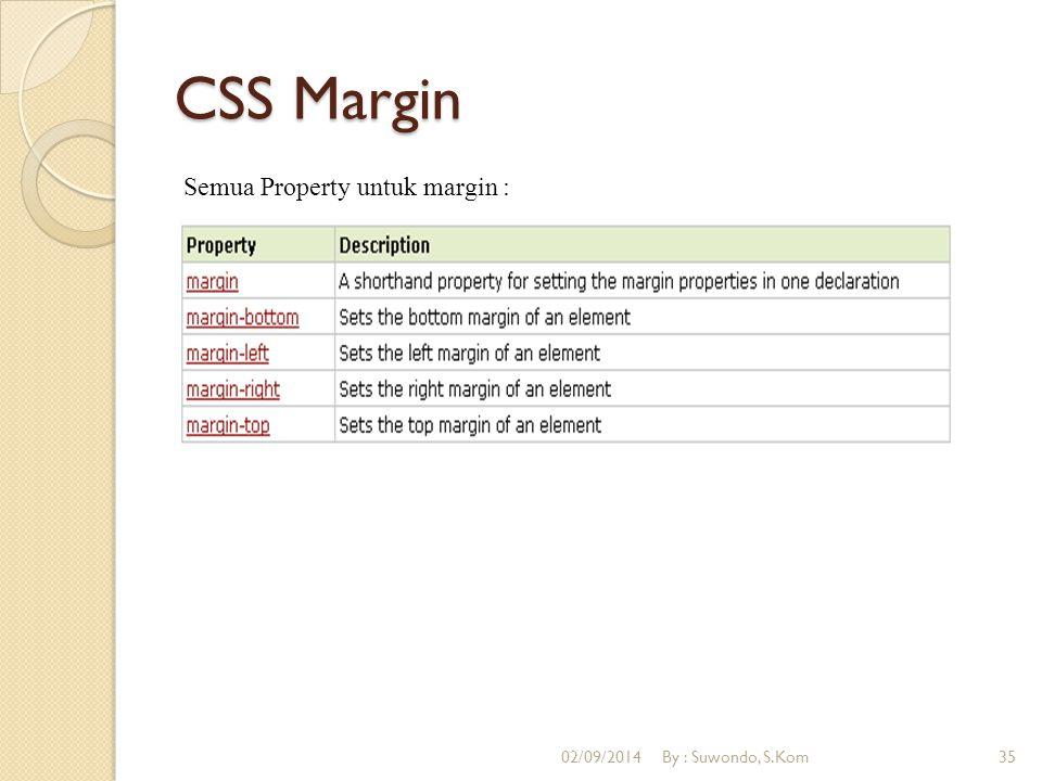 CSS Margin Semua Property untuk margin : 02/09/2014By : Suwondo, S.Kom35