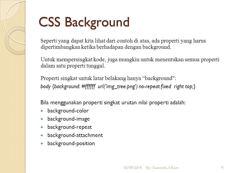 CSS Background Seperti yang dapat kita lihat dari contoh di atas, ada properti yang harus dipertimbangkan ketika berhadapan dengan background. Untuk m