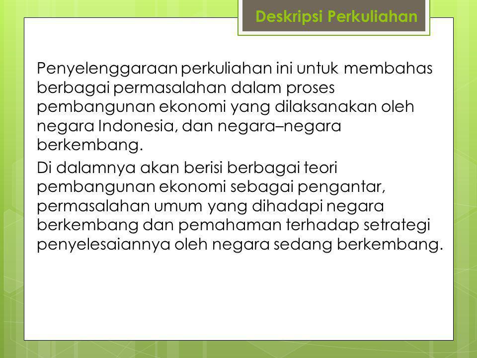 Deskripsi Perkuliahan Penyelenggaraan perkuliahan ini untuk membahas berbagai permasalahan dalam proses pembangunan ekonomi yang dilaksanakan oleh negara Indonesia, dan negara–negara berkembang.