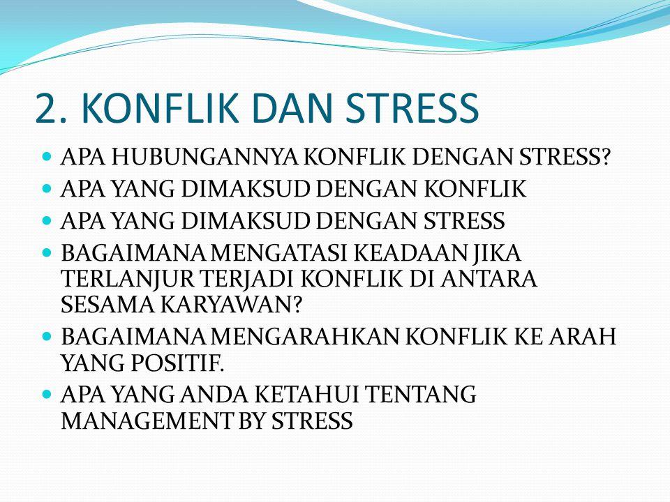 2. KONFLIK DAN STRESS APA HUBUNGANNYA KONFLIK DENGAN STRESS? APA YANG DIMAKSUD DENGAN KONFLIK APA YANG DIMAKSUD DENGAN STRESS BAGAIMANA MENGATASI KEAD