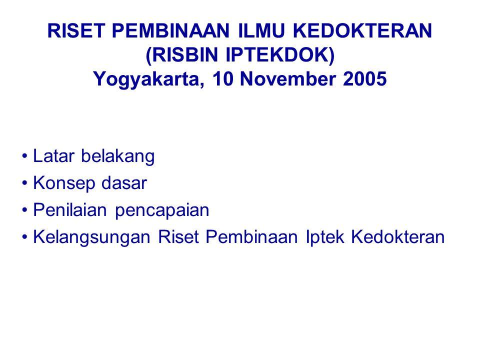 RISET PEMBINAAN ILMU KEDOKTERAN (RISBIN IPTEKDOK) Yogyakarta, 10 November 2005 Latar belakang Konsep dasar Penilaian pencapaian Kelangsungan Riset Pembinaan Iptek Kedokteran