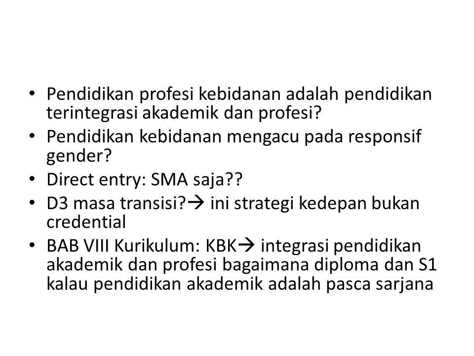 Pendidikan profesi kebidanan adalah pendidikan terintegrasi akademik dan profesi? Pendidikan kebidanan mengacu pada responsif gender? Direct entry: SM