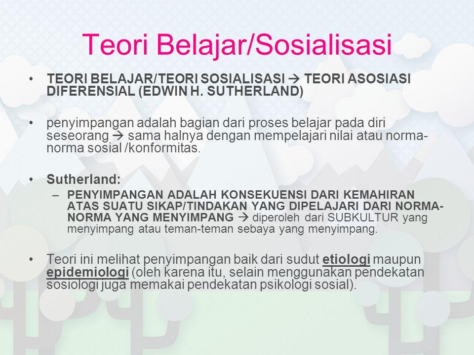 Teori Belajar/Sosialisasi TEORI BELAJAR/TEORI SOSIALISASI  TEORI ASOSIASI DIFERENSIAL (EDWIN H.