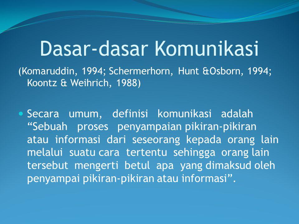 "Dasar-dasar Komunikasi (Komaruddin, 1994; Schermerhorn, Hunt &Osborn, 1994; Koontz & Weihrich, 1988) Secara umum, definisi komunikasi adalah ""Sebuah p"