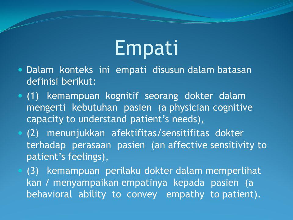 Empati Dalam konteks ini empati disusun dalam batasan definisi berikut: (1)kemampuan kognitif seorang dokter dalam mengerti kebutuhan pasien (a physic