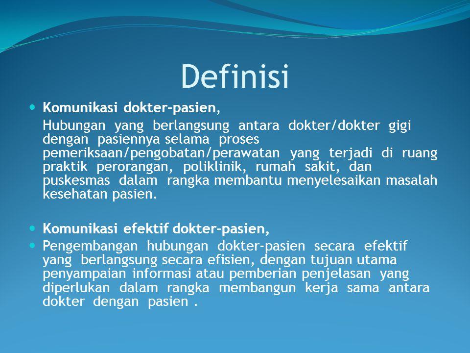 Definisi Komunikasi dokter-pasien, Hubungan yang berlangsung antara dokter/dokter gigi dengan pasiennya selama proses pemeriksaan/pengobatan/perawatan