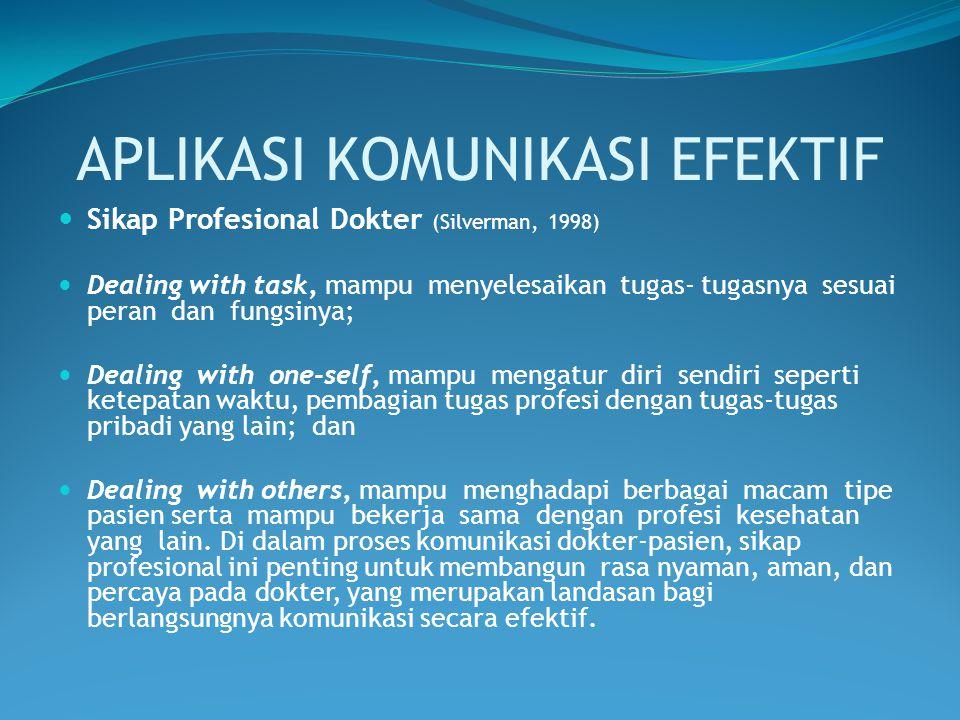 APLIKASI KOMUNIKASI EFEKTIF Sikap Profesional Dokter (Silverman, 1998) Dealing with task, mampu menyelesaikan tugas- tugasnya sesuai peran dan fungsin