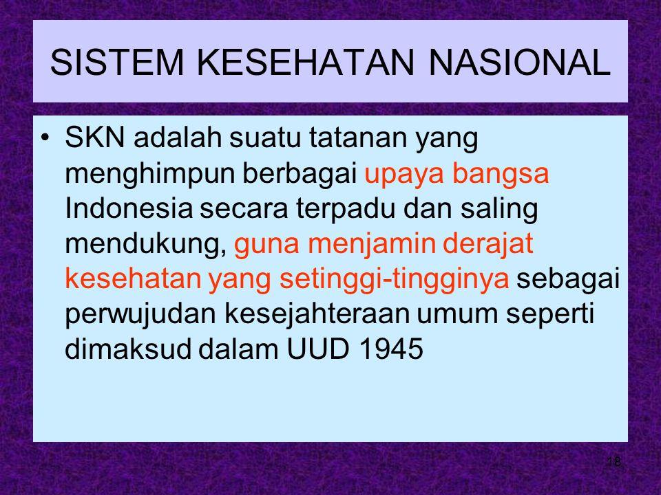 18 SISTEM KESEHATAN NASIONAL SKN adalah suatu tatanan yang menghimpun berbagai upaya bangsa Indonesia secara terpadu dan saling mendukung, guna menjam