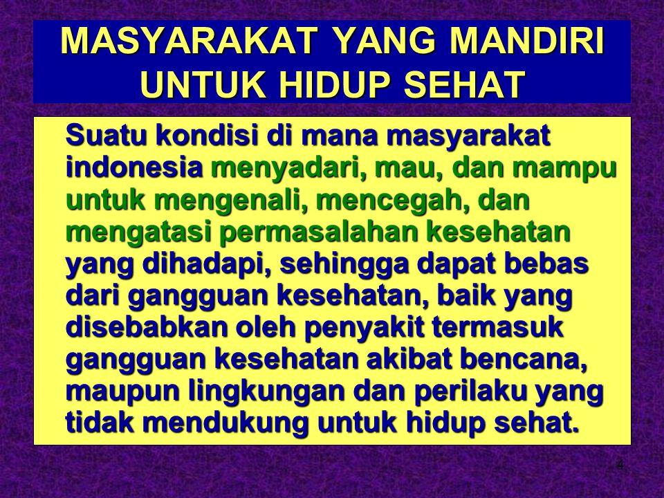 4 MASYARAKAT YANG MANDIRI UNTUK HIDUP SEHAT Suatu kondisi di mana masyarakat indonesia menyadari, mau, dan mampu untuk mengenali, mencegah, dan mengat
