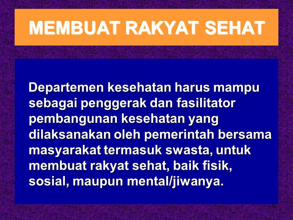 5 MEMBUAT RAKYAT SEHAT Departemen kesehatan harus mampu sebagai penggerak dan fasilitator pembangunan kesehatan yang dilaksanakan oleh pemerintah bers