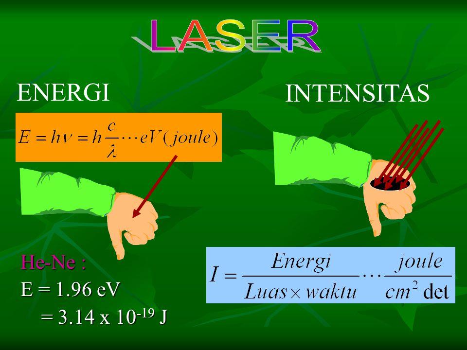 ENERGI INTENSITAS He-Ne : E = 1.96 eV = 3.14 x 10 -19 J = 3.14 x 10 -19 J