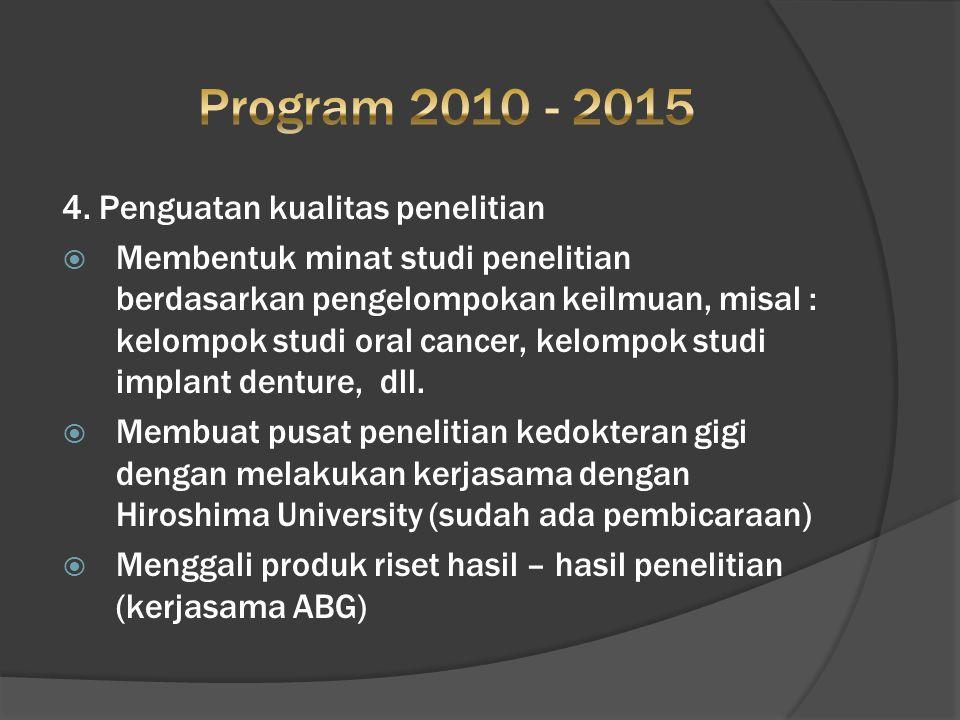 4. Penguatan kualitas penelitian  Membentuk minat studi penelitian berdasarkan pengelompokan keilmuan, misal : kelompok studi oral cancer, kelompok s