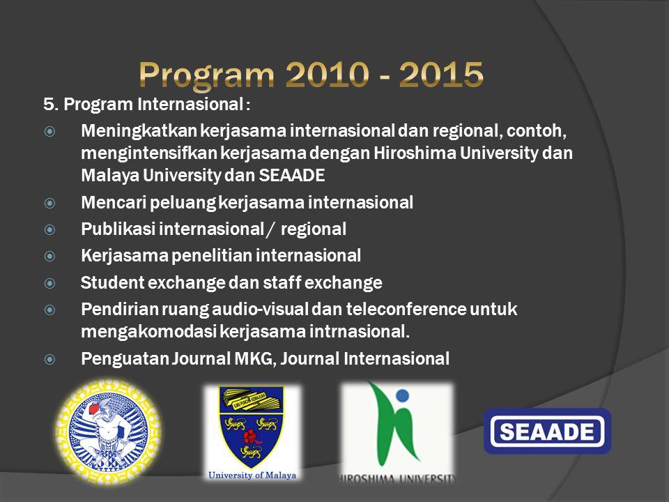 5. Program Internasional :  Meningkatkan kerjasama internasional dan regional, contoh, mengintensifkan kerjasama dengan Hiroshima University dan Mala