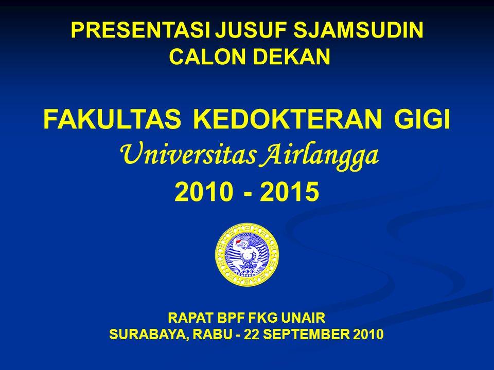 PRESENTASI JUSUF SJAMSUDIN CALON DEKAN FAKULTAS KEDOKTERAN GIGI Universitas Airlangga 2010 - 2015 RAPAT BPF FKG UNAIR SURABAYA, RABU - 22 SEPTEMBER 20