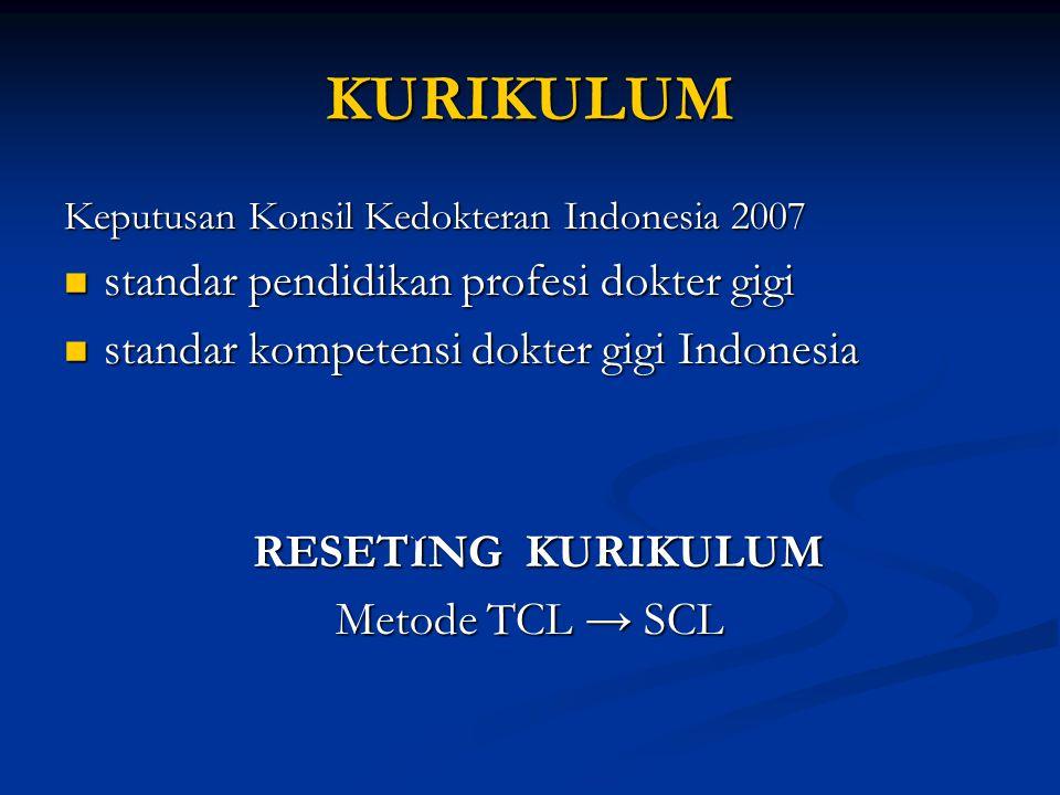 KURIKULUM Keputusan Konsil Kedokteran Indonesia 2007 standar pendidikan profesi dokter gigi standar pendidikan profesi dokter gigi standar kompetensi