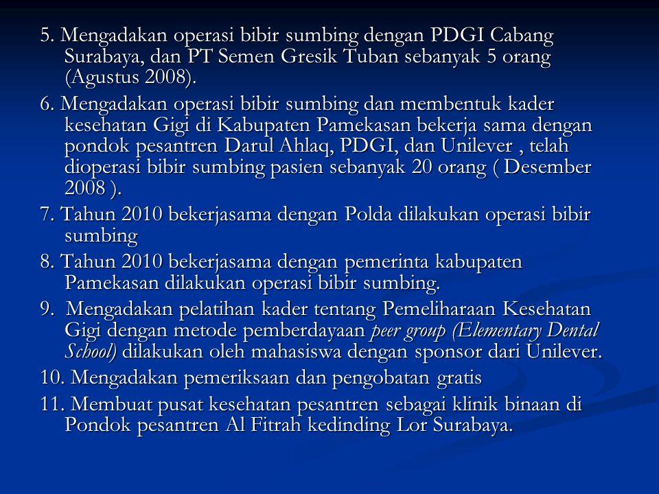 5. Mengadakan operasi bibir sumbing dengan PDGI Cabang Surabaya, dan PT Semen Gresik Tuban sebanyak 5 orang (Agustus 2008). 6. Mengadakan operasi bibi