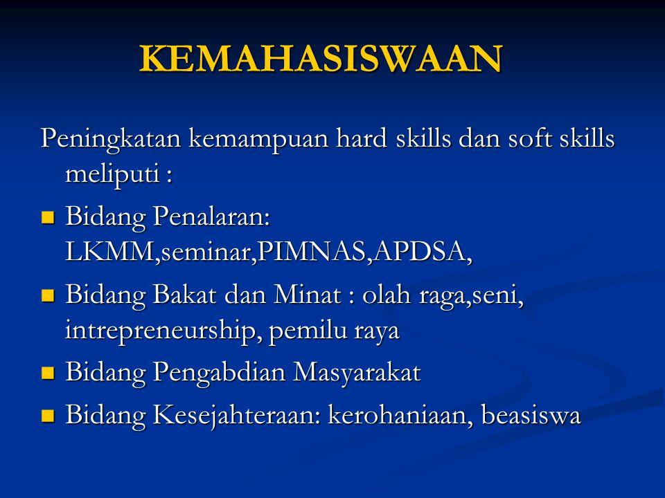 KEMAHASISWAAN Peningkatan kemampuan hard skills dan soft skills meliputi : Bidang Penalaran: LKMM,seminar,PIMNAS,APDSA, Bidang Penalaran: LKMM,seminar