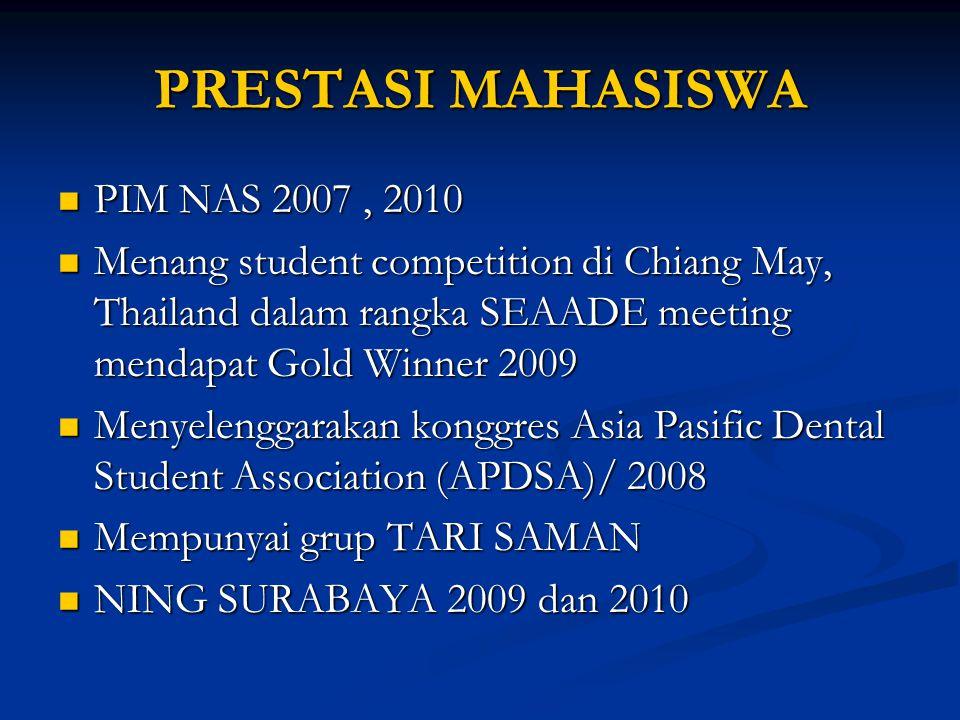 PRESTASI MAHASISWA PIM NAS 2007, 2010 PIM NAS 2007, 2010 Menang student competition di Chiang May, Thailand dalam rangka SEAADE meeting mendapat Gold