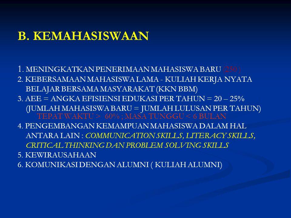 B. KEMAHASISWAAN 1. MENINGKATKAN PENERIMAAN MAHASISWA BARU (250 ) 2. KEBERSAMAAN MAHASISWA LAMA - KULIAH KERJA NYATA BELAJAR BERSAMA MASYARAKAT (KKN B